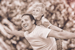 Son playing with his father in the park during the summer Royalty Free Stock Photos