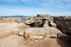 Son Real necropolis. With remnants from 700th century BC in Mallorca, Balearic islands, Spain stock image