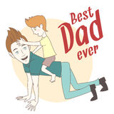Son riding on his father's back. Hand drawn style greeting card Royalty Free Stock Images