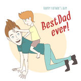 Son riding on his father's back. Hand drawn style greeting card Stock Photo
