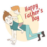 Son riding on his father's back. Hand drawn style greeting card Royalty Free Stock Image