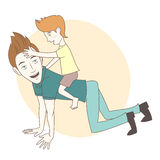 Son riding on his father's back. Hand drawn style royalty free illustration