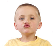 Son's kisses. Boy about to give a kiss royalty free stock image