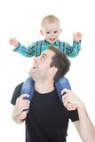 Son on the shoulders his father isolated Stock Photos