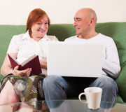 Son Show mothers her laptop Stock Photos