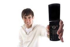 son téléphone d'homme affichant des jeunes Images stock