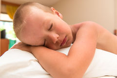 Son 5 years strong sleeps. Afternoon Royalty Free Stock Photo