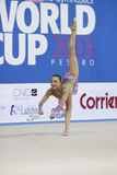 Son Yeon Jae with clubs. PESARO, ITALY - APRIL 28: Son Yeon Jae from Korea performs with clubs during the rhythmic gymnastic World Cup on April 28, 2013 in stock images