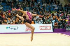 Son Yeon Jae, Korea. MOSCOW, RUSSIA - FEBRUARY 19, 2016: Son Yeon Jae, Korea on Rhythmic gymnastics Alina Cup Grand Prix Moscow - 2016 in Moscow sport palace Royalty Free Stock Photo
