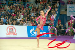 Son Yeon Jae, Korea. MOSCOW, RUSSIA - FEBRUARY 21, 2016: Son Yeon Jae, Korea on Rhythmic gymnastics Alina Cup Grand Prix Moscow - 2016 in Moscow sport palace royalty free stock images
