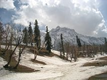 Sonamarg, Kashmir, India. View of Sonamarg With Snow And Cloudy Sky royalty free stock photo