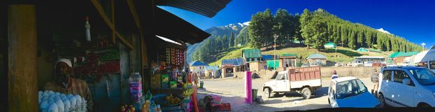 Sonamarg Market Panoramic View. A Shopkeepers view of Sonamarg Market Area royalty free stock images