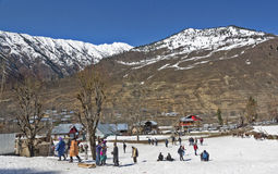 Sonamarg snow view at Kashmir. Tourist enjoying the snow and nature at Kashmir, india Royalty Free Stock Photo