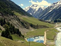 Sonamarg. (translation: Meadow of Gold) is a hill station in Ganderbal district in the Indian state of Jammu and Kashmir Royalty Free Stock Photos