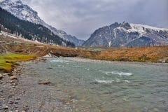 Sonamarg valley. Beautiful sindh river in sonamarg stock photo