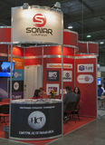 Sonar Company satellite TV provider booth. Visitors visit Sonar Company satellite TV provider booth at Kyiv International exhibition and conference in broadcast royalty free stock image