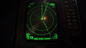 Sonar in control panel of a motor boat