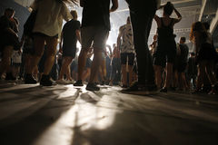 Sonar night 047. Festivalgoers dance and enjoy during the first night of the 2015 Sonar night advanced music festival held in Barcelona on 17-18-19 june royalty free stock image