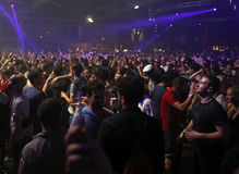 Sonar night 014. Festivalgoers dance and enjoy during the first night of the 2015 Sonar night advanced music festival held in Barcelona on 17-18-19 june Royalty Free Stock Photo