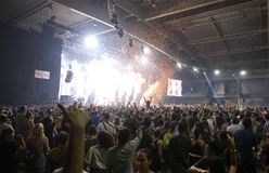 Sonar night scenery wide view with public dancing. Festivalgoers dance and enjoy during the first night of the 2015 Sonar night advanced music festival held in stock photos