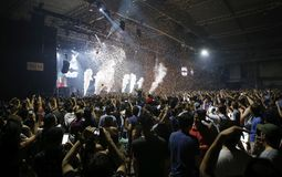 Sonar night scenery wide view with public dancing. Festivalgoers dance and enjoy during the first night of the 2015 Sonar night advanced music festival held in royalty free stock photos