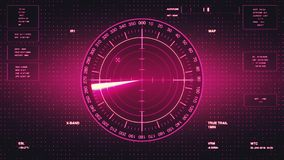 Sonar Screen For Submarines And Ships. Radar Sonar With Object On Map Stock Image