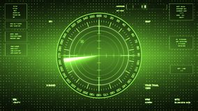 Sonar Screen For Submarines And Ships. Radar Sonar With Object On Map Royalty Free Stock Photo