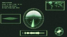 Sonar submarino con la blanco en mapa HUD que muestra la ubicación, landsc Fotos de archivo