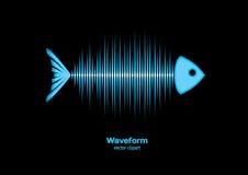 Sonar waveform fish. Sonar fish with bones as sound waveform Royalty Free Stock Photography