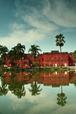 Sonargaon museum and the clouds. Sonargaon museum building with the reflection in the lake in bangladesh Stock Images