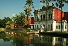 Sonargaon museum with the reflection. Sonargaon museum building with the reflection in the lake in bangladesh Royalty Free Stock Photo