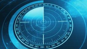 Sonarskärm för ubåtar och skepp Radarsonar med objekt på översikt royaltyfri illustrationer