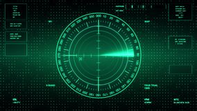 Sonarskärm för ubåtar och skepp Radarsonar med objekt på översikt Futuristisk HUD Navigation bildskärm vektor illustrationer