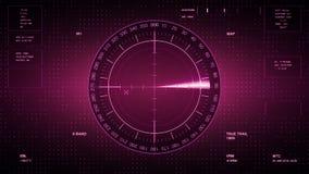 Sonarskärm för ubåtar och skepp Radarsonar med objekt på översikt Futuristisk HUD Navigation bildskärm royaltyfri illustrationer