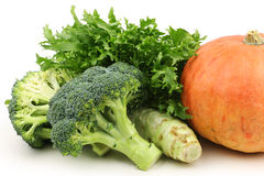 Sonchus,Pumpkin And Broccoli. Fresh vegetables - close up of Sonchus ,pumpkin and broccoli stock image