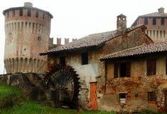 Soncino,意大利 风车 库存照片