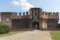 Soncino (Cremona, Italy). Soncino (Cremona, Lombardy, Italy): exterior of the medieval castle known as Rocca Sforzesca Stock Image