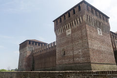Soncino (Cremona, Italy). Soncino (Cremona, Lombardy, Italy): exterior of the medieval castle known as Rocca Sforzesca Royalty Free Stock Photos