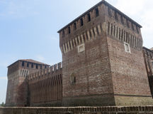 Soncino (Cremona, Italy). Soncino (Cremona, Lombardy, Italy): exterior of the medieval castle known as Rocca Sforzesca Stock Photography