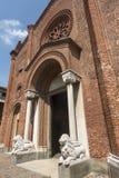 Soncino (Cremona, Italy). Soncino (Cremona, Lombardy, Italy): exterior of the medieval church of Santa Maria Assunta (12th century Royalty Free Stock Photos