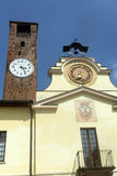 Soncino (Cremona, Italy). Soncino (Cremona, Lombardy, Italy): historic buildings. Clock tower Royalty Free Stock Photos