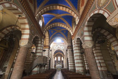 Soncino (Cremona, Italy). Soncino (Cremona, Lombardy, Italy): interior of the medieval church of Santa Maria Assunta (12th century Stock Photo