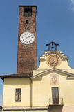 Soncino (Cremona). Soncino (Cremona, Lombardy, Italy): historic buildings. Clock tower Royalty Free Stock Photos