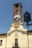 Soncino (Cremona). Soncino (Cremona, Lombardy, Italy): historic buildings. Clock tower Stock Photos