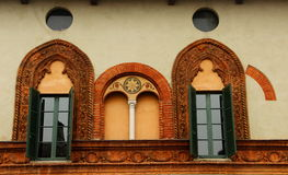 Soncino, Italy. Detail of one building facade. Soncino is a small town in the Province of Cremona, Lombardy, Italy. The shot shows a detail of the facade of a Royalty Free Stock Photography