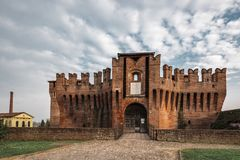 Soncino Castle. Soncino medieval castle a front view of this intact ancient building royalty free stock photos