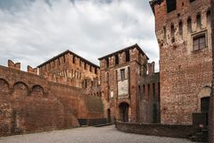 Soncino Castle the entrance. Soncino medieval castle a view of the entrance of this this intact ancient building royalty free stock photos