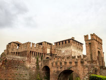 Soncino medieval castle view in Italy. Soncino medieval castle drawbridge view in Italy, Cremona Royalty Free Stock Photos