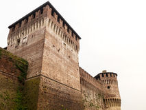 Soncino medieval castle view in Italy. Soncino medieval castle tower view in Italy, Cremona Stock Photo