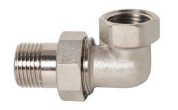 Sondando o encaixe e a válvula de bola para o sistema de fonte da água, isolados no fundo branco fotos de stock royalty free